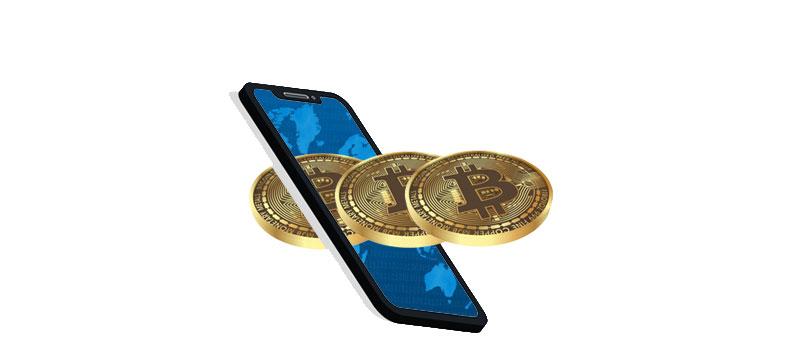 Bild - Smartphone mit Bitcoins